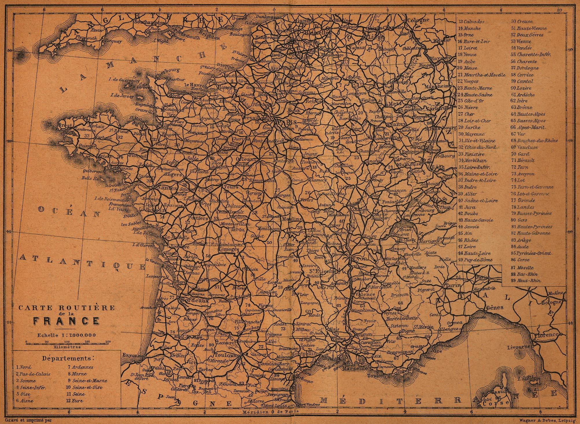 Mapa de Carreteras de Francia 1914