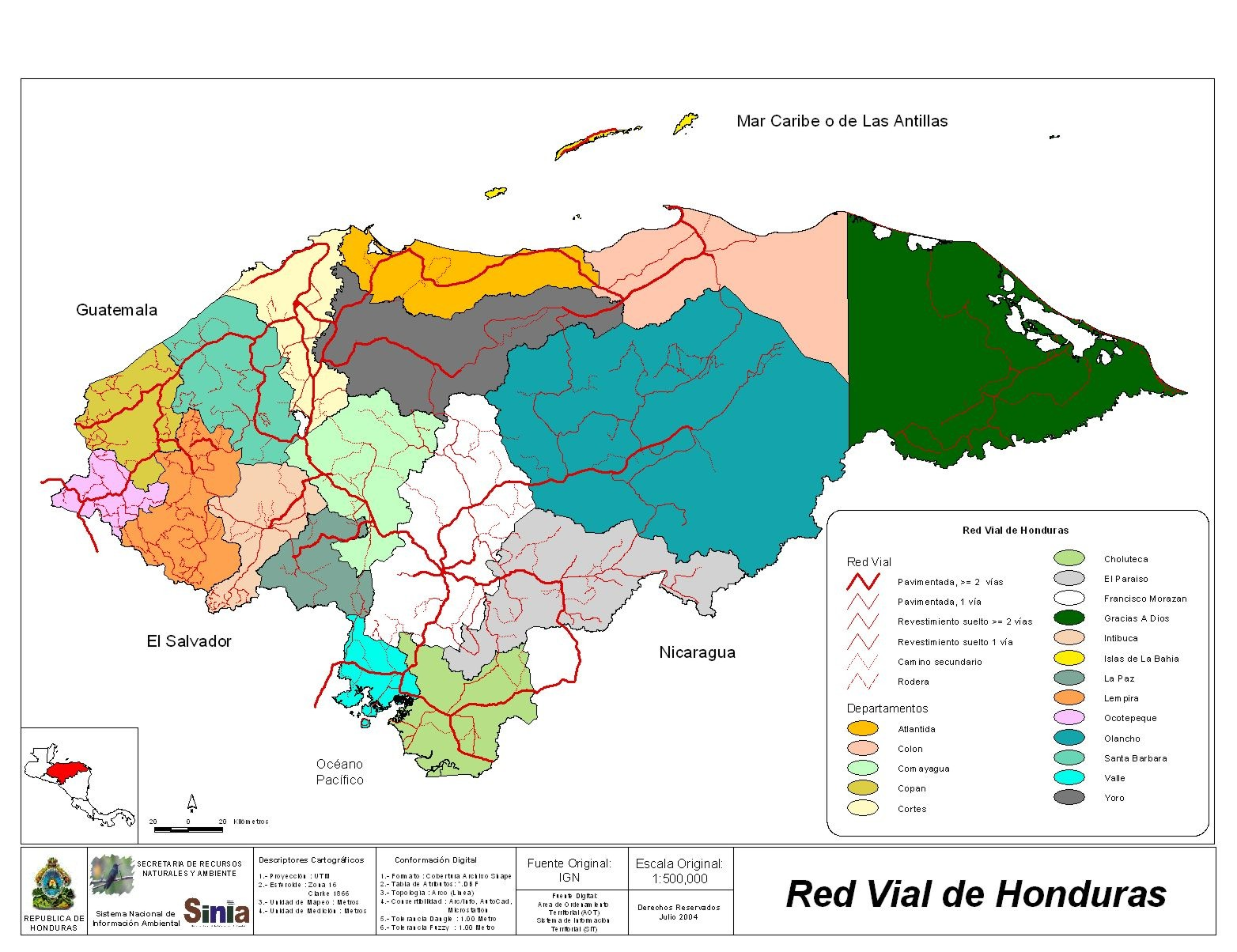 Honduras Road Network Map
