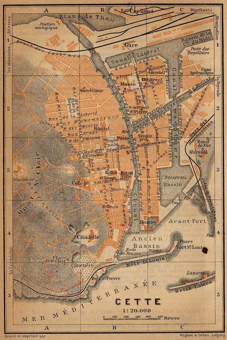 Mapa de Cette, Francia 1914