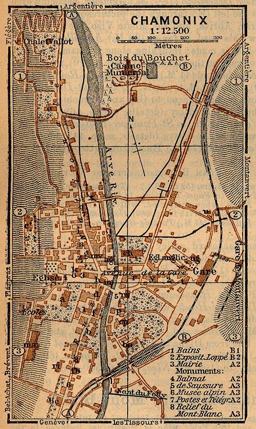 Mapa de Chamonix, Francia 1914