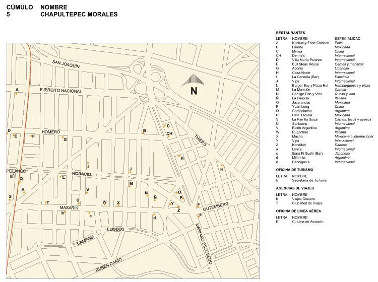 Chapultepec Morales Map, Mexico D.F.