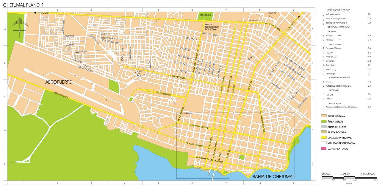 Chetumal Map, Quintana Roo, Mexico