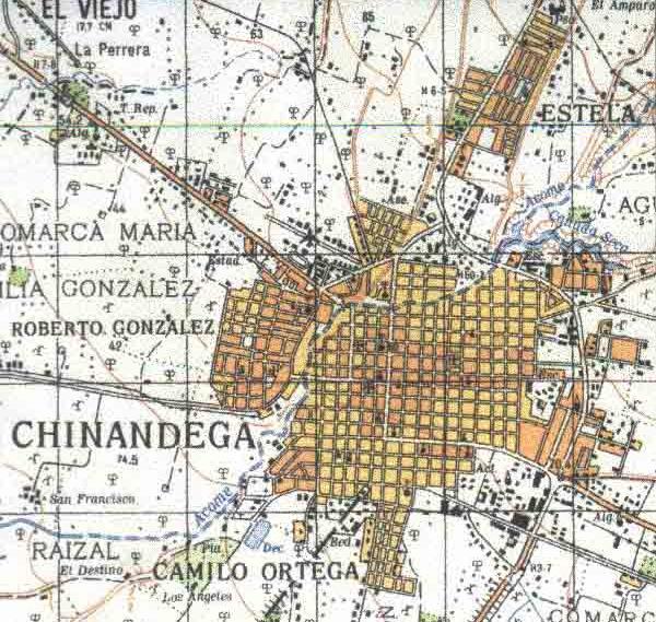 Map of Chinandega, Chinandega, Nicaragua