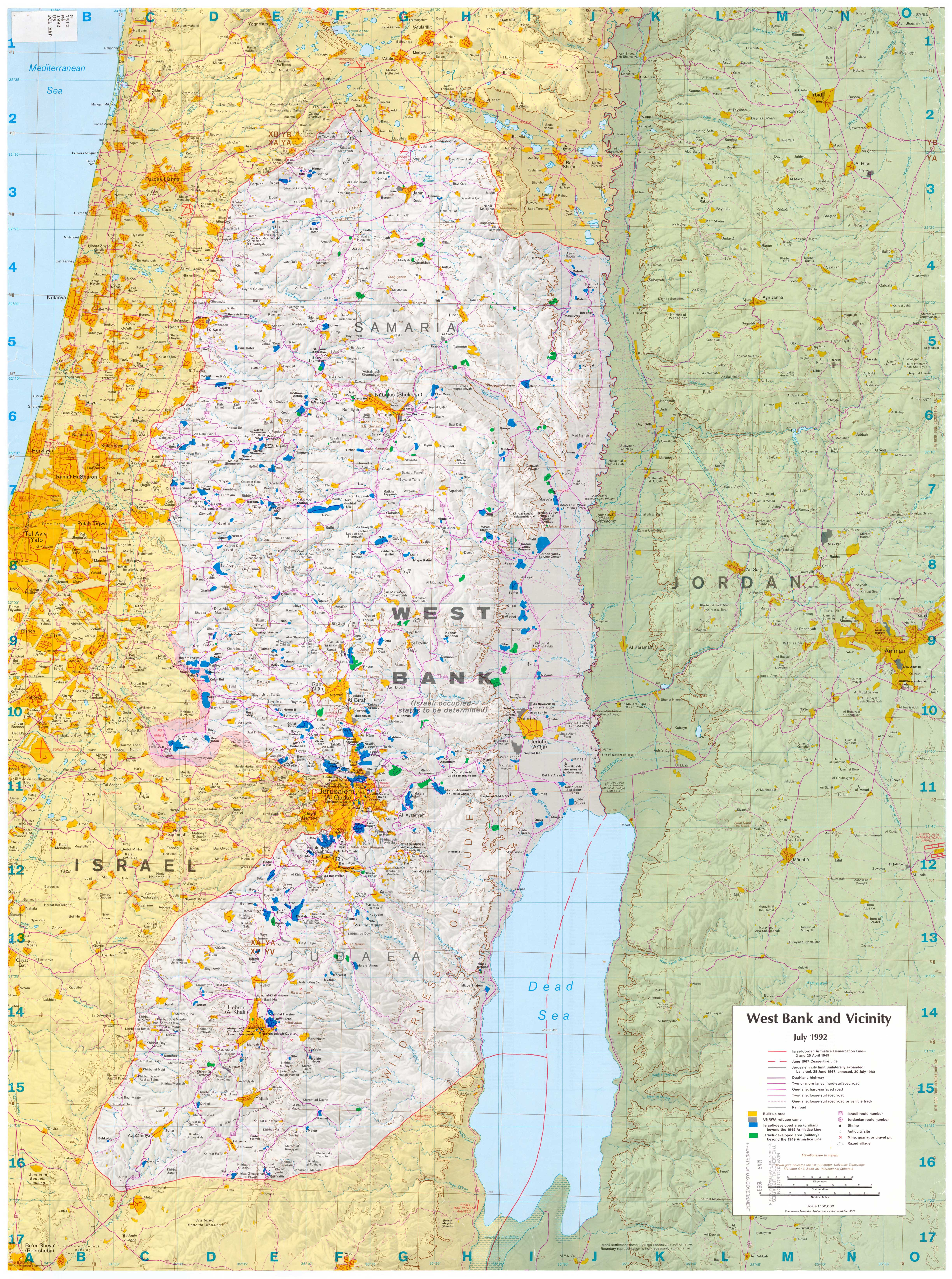 Map of West Bank Entire Map