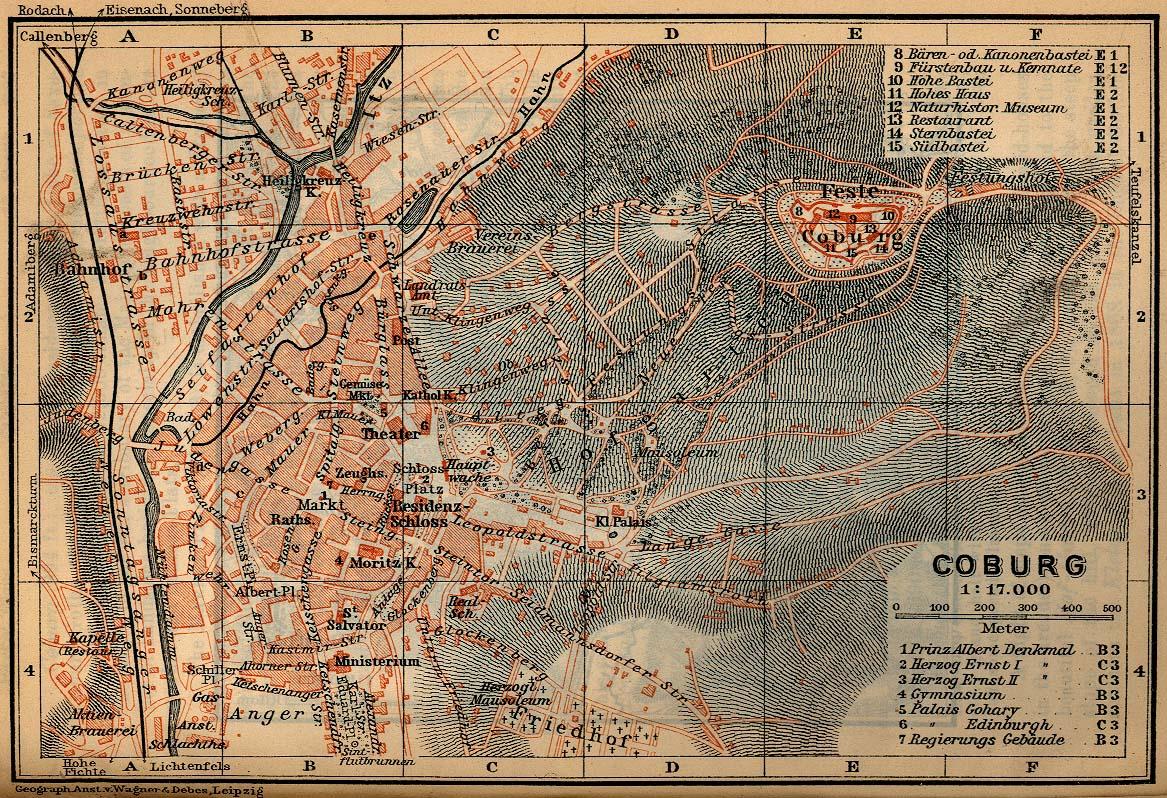 Coburg Map, Germany 1910