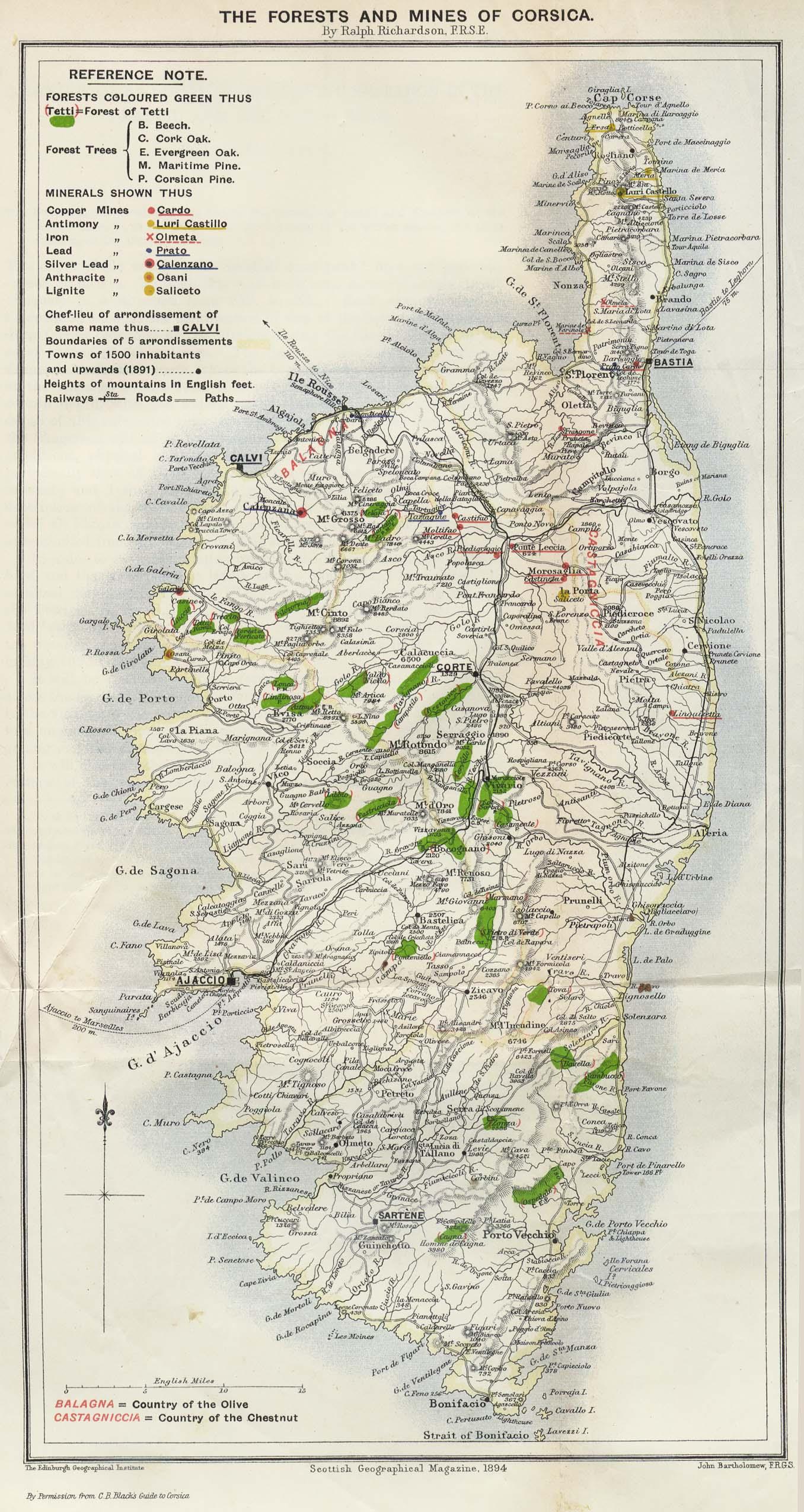 Corsica Map 1894