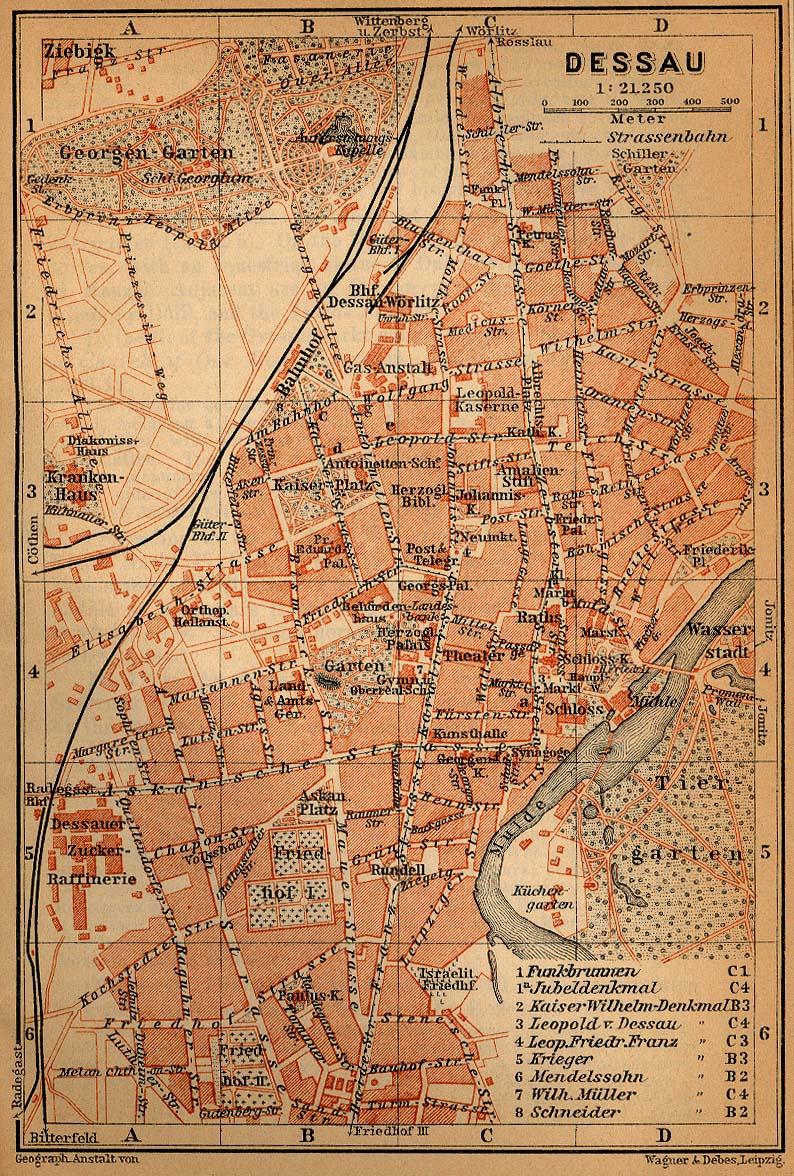 Mapa de Dessau, Alemania 1910