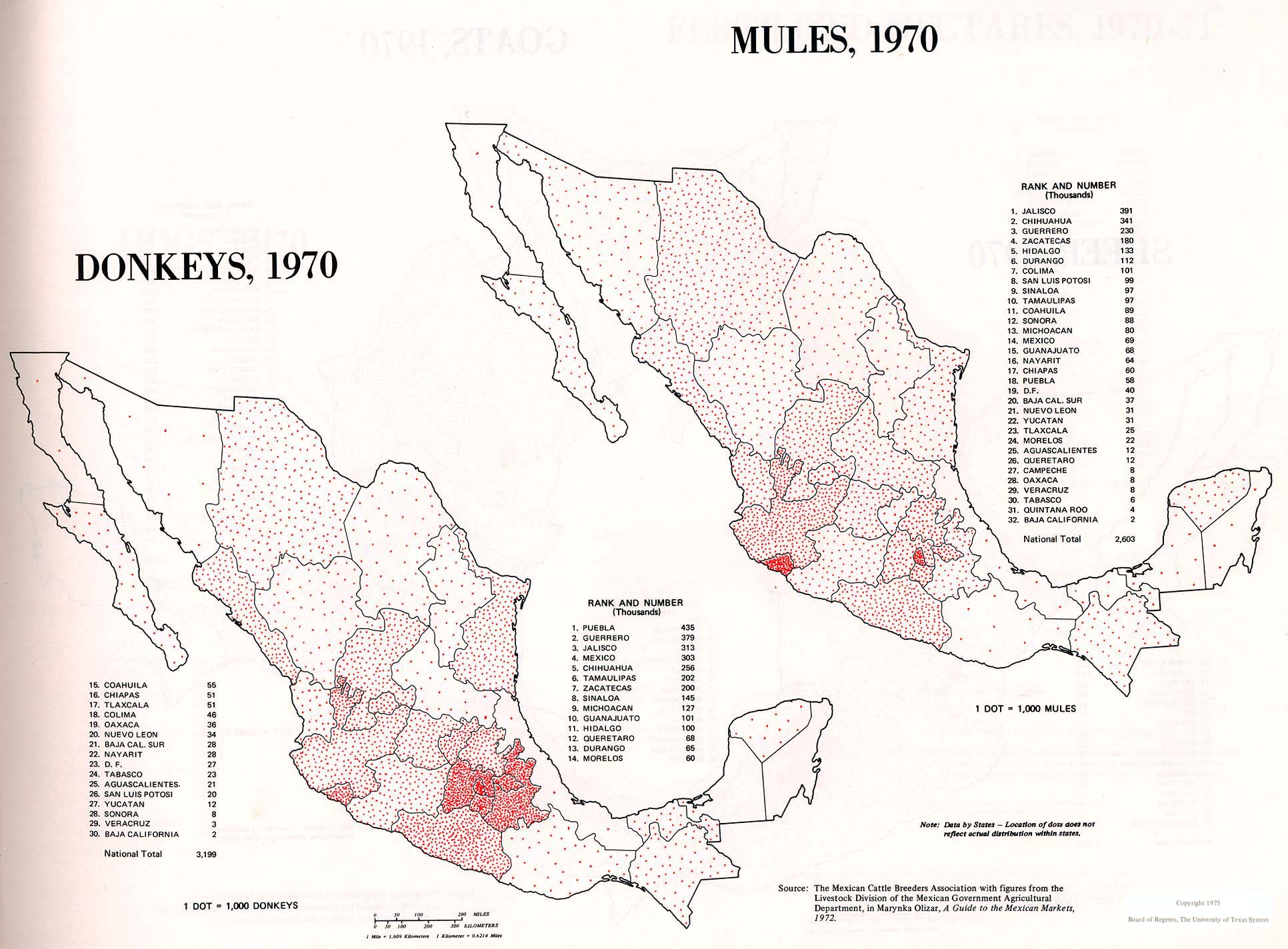 Map of Donkeys and Mules Distribution, Mexico