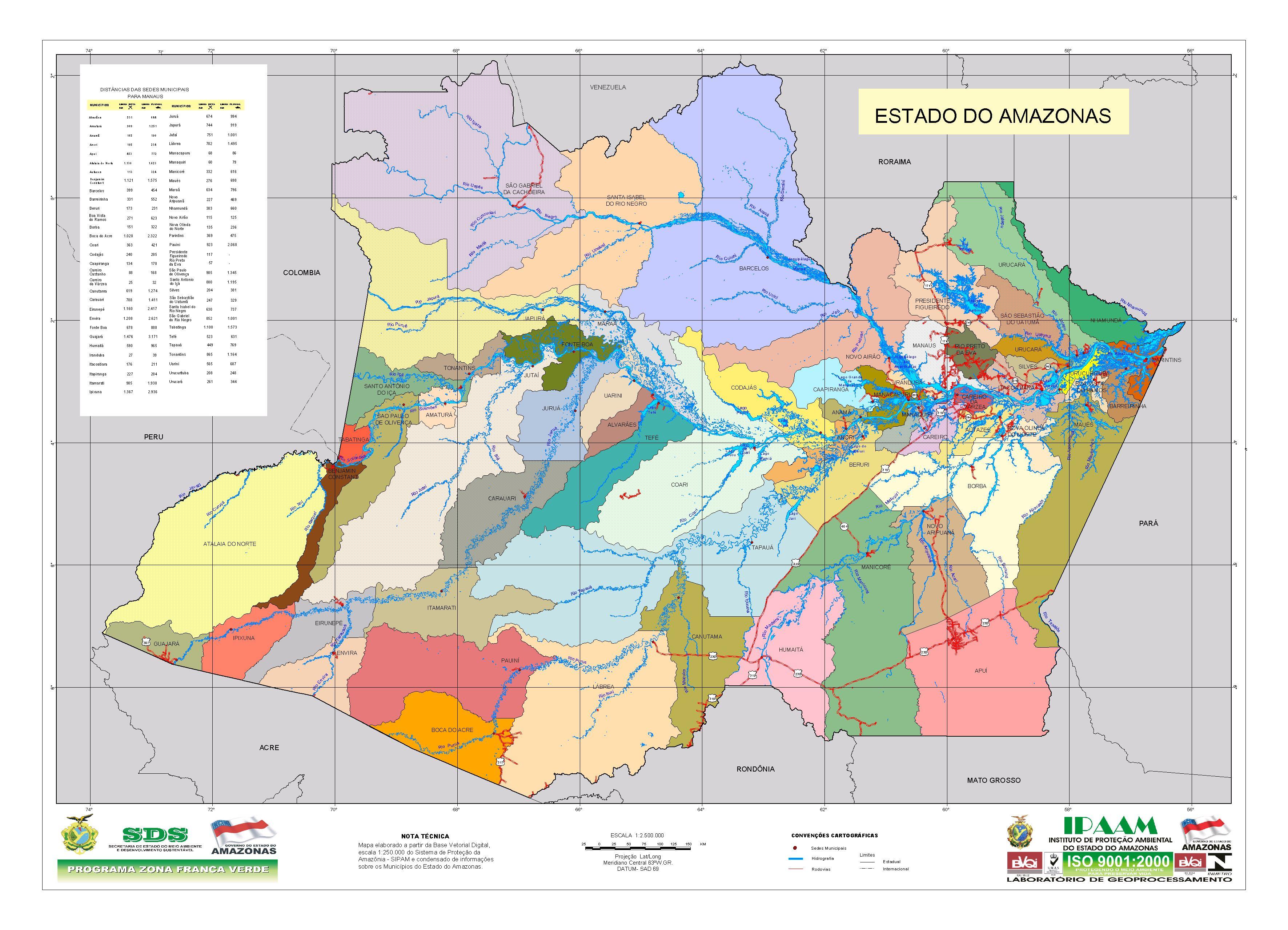 Amazonas State Municipal Division Map, Brazil