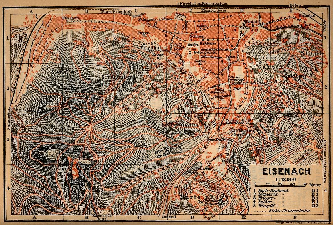 Eisenach Map, Germany 1910