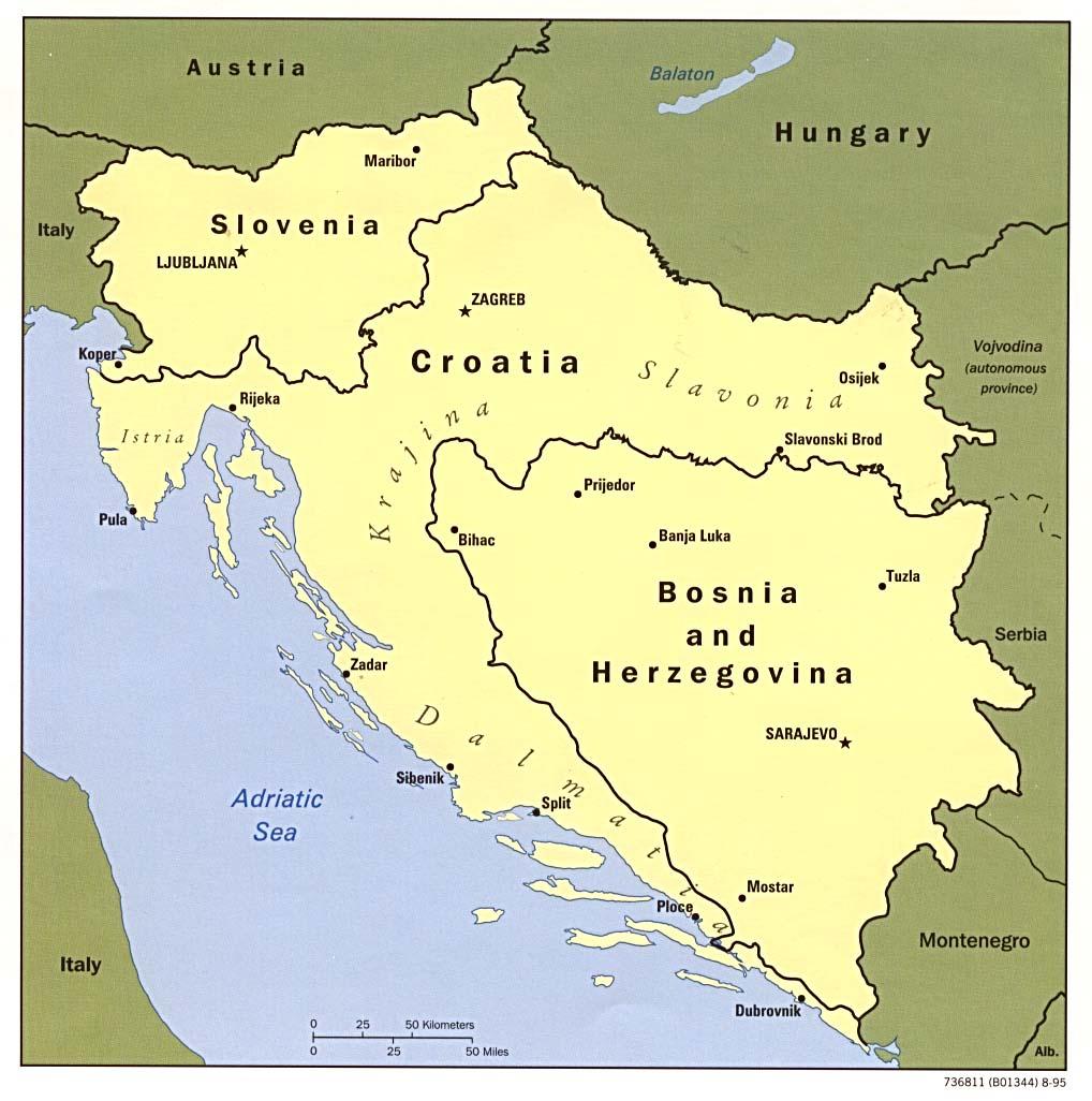 Mapa de Eslovenia, Croacia, Bosnia y Herzegovina