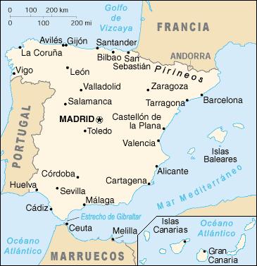 Mapa de España en español