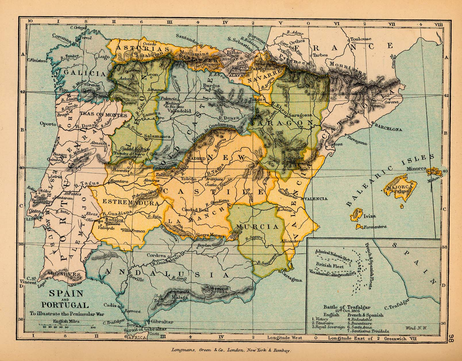 Map of Spain and Portugal, to illustrate the Peninsular War