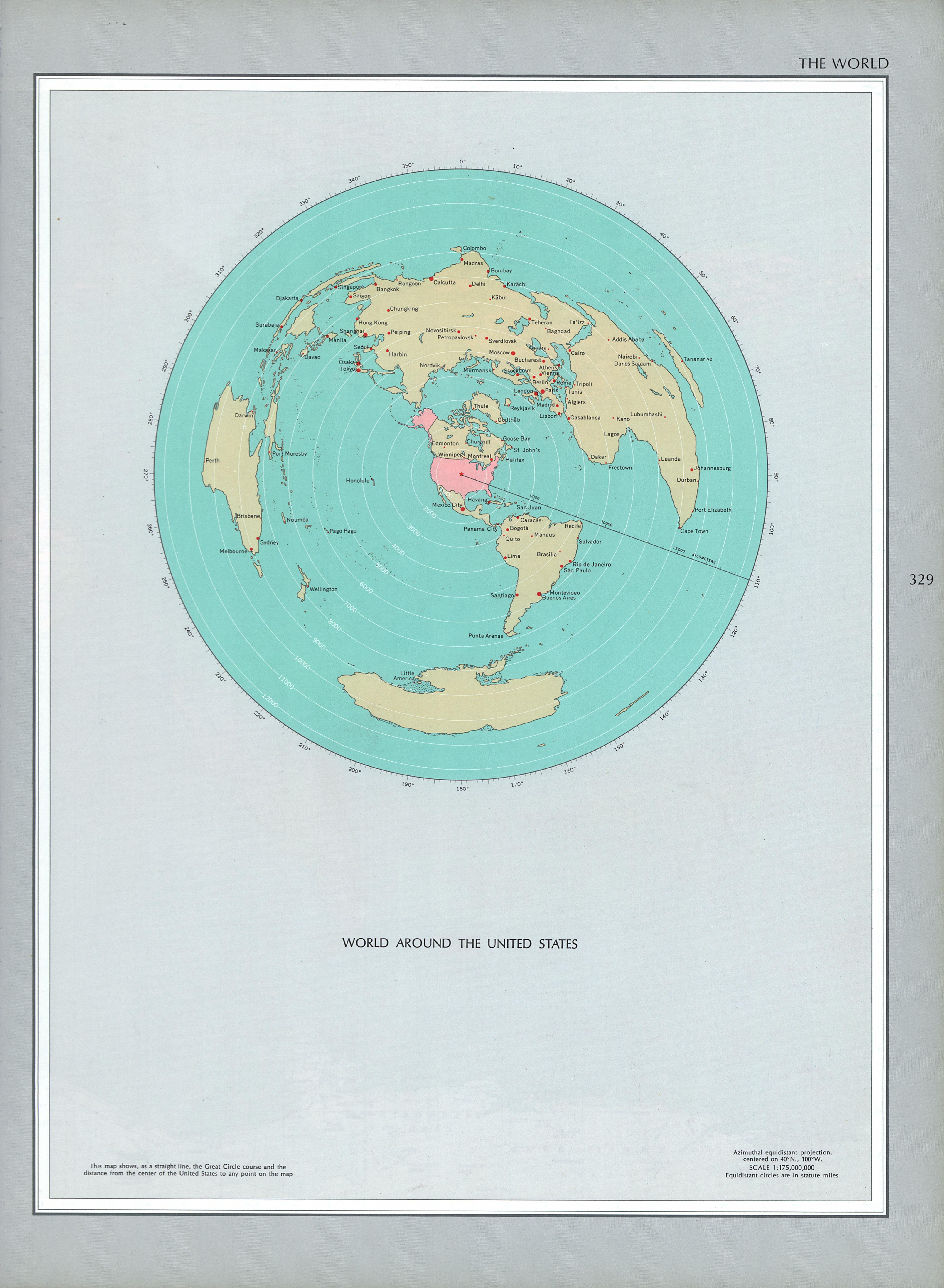 Map of the World Around the United States