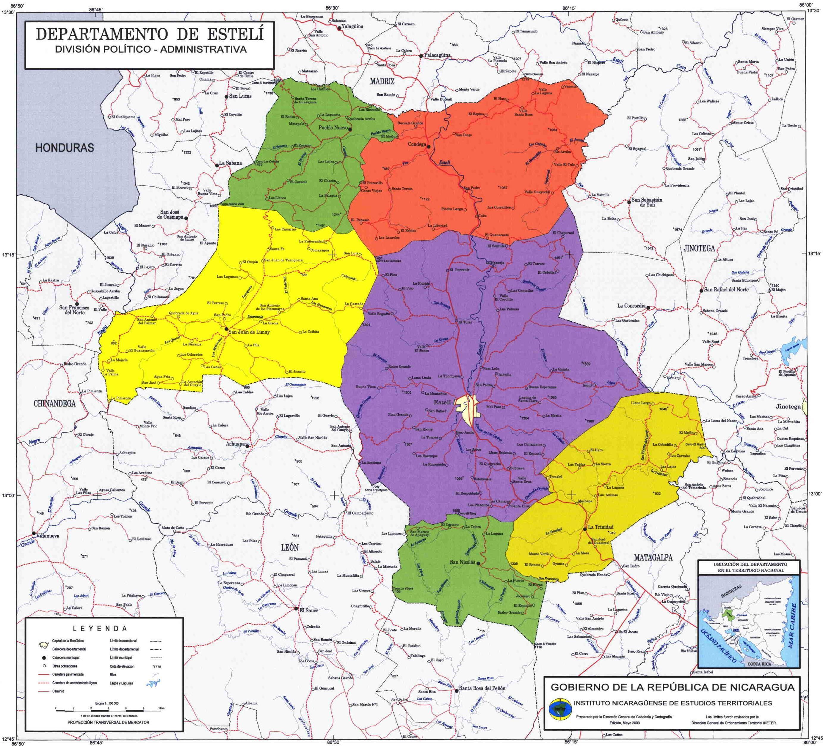 Esteli Department Administrative Political Map, Nicaragua