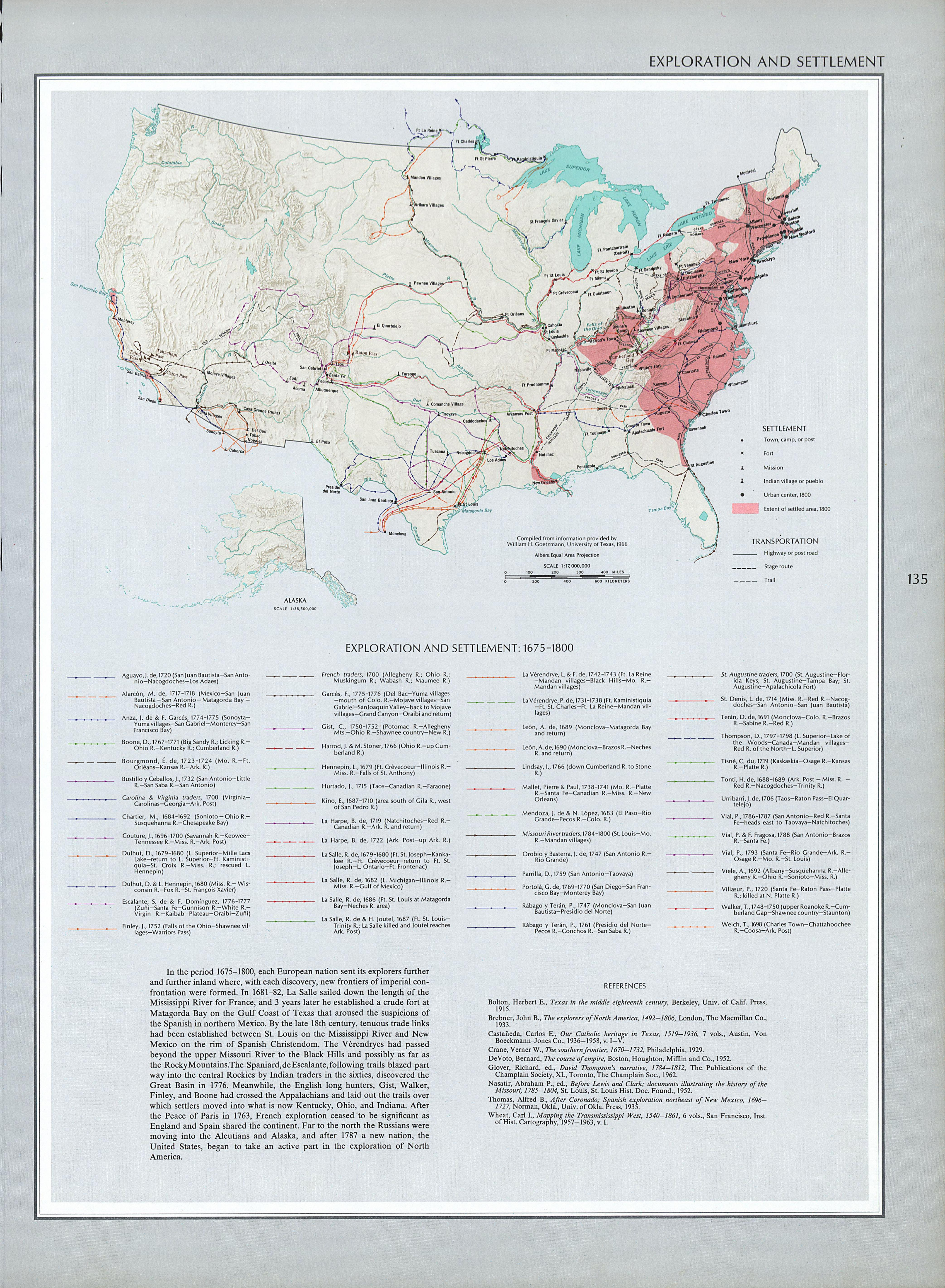 United States Territory Exploration and Settlement Map 1675 - 1800