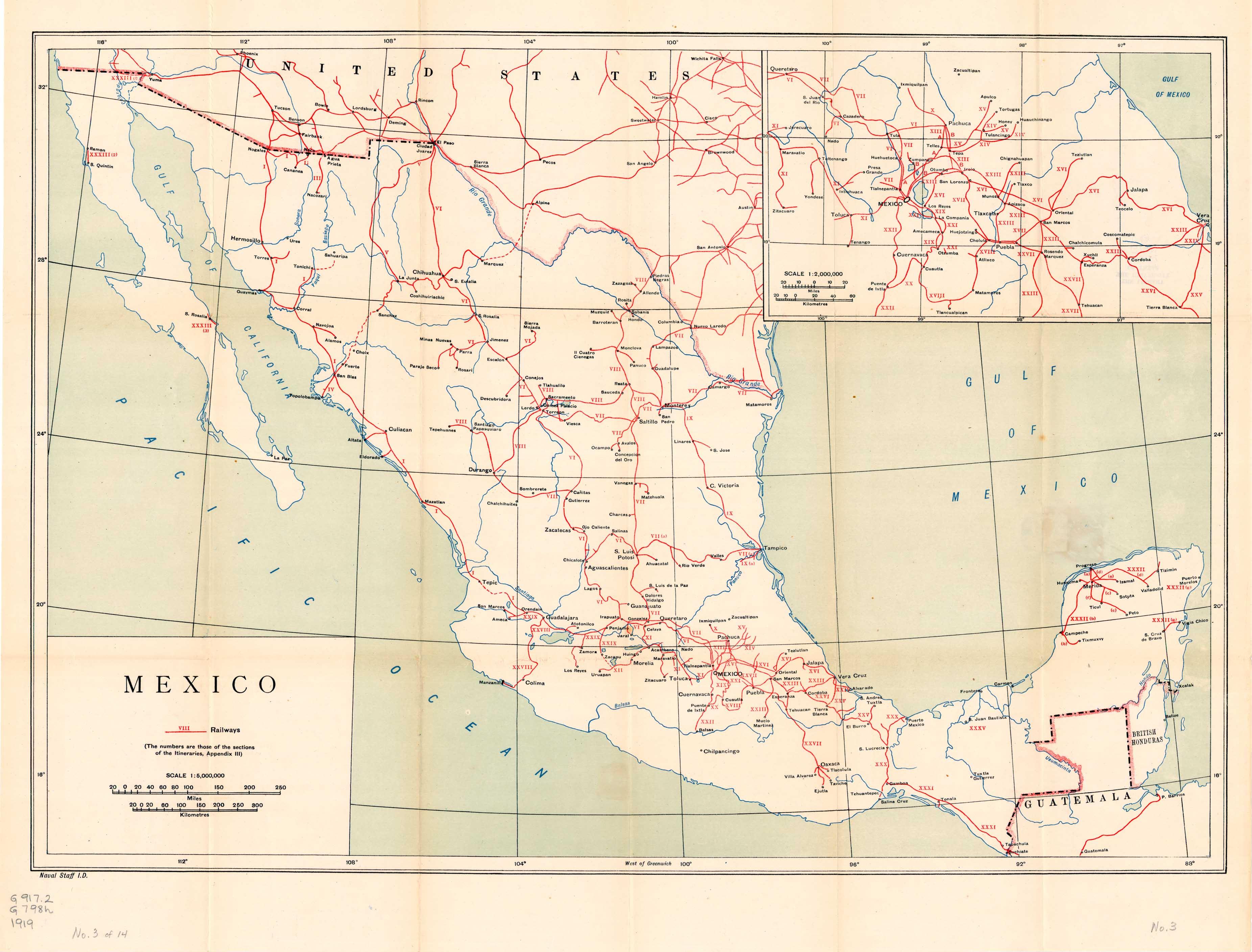Railways Map, Mexico