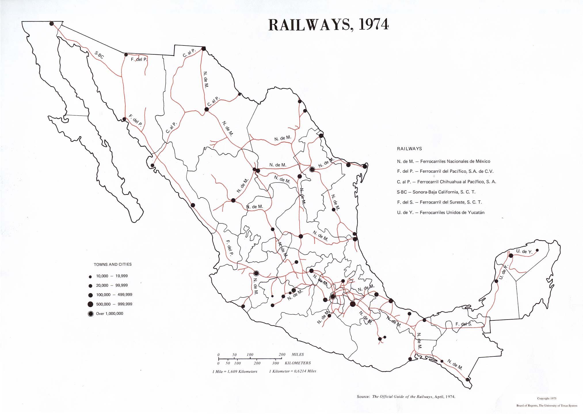 Mapa de Ferrocarriles de México 1974