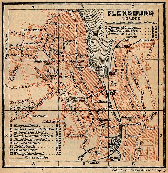 Mapa de Flensburgo, Alemania 1910