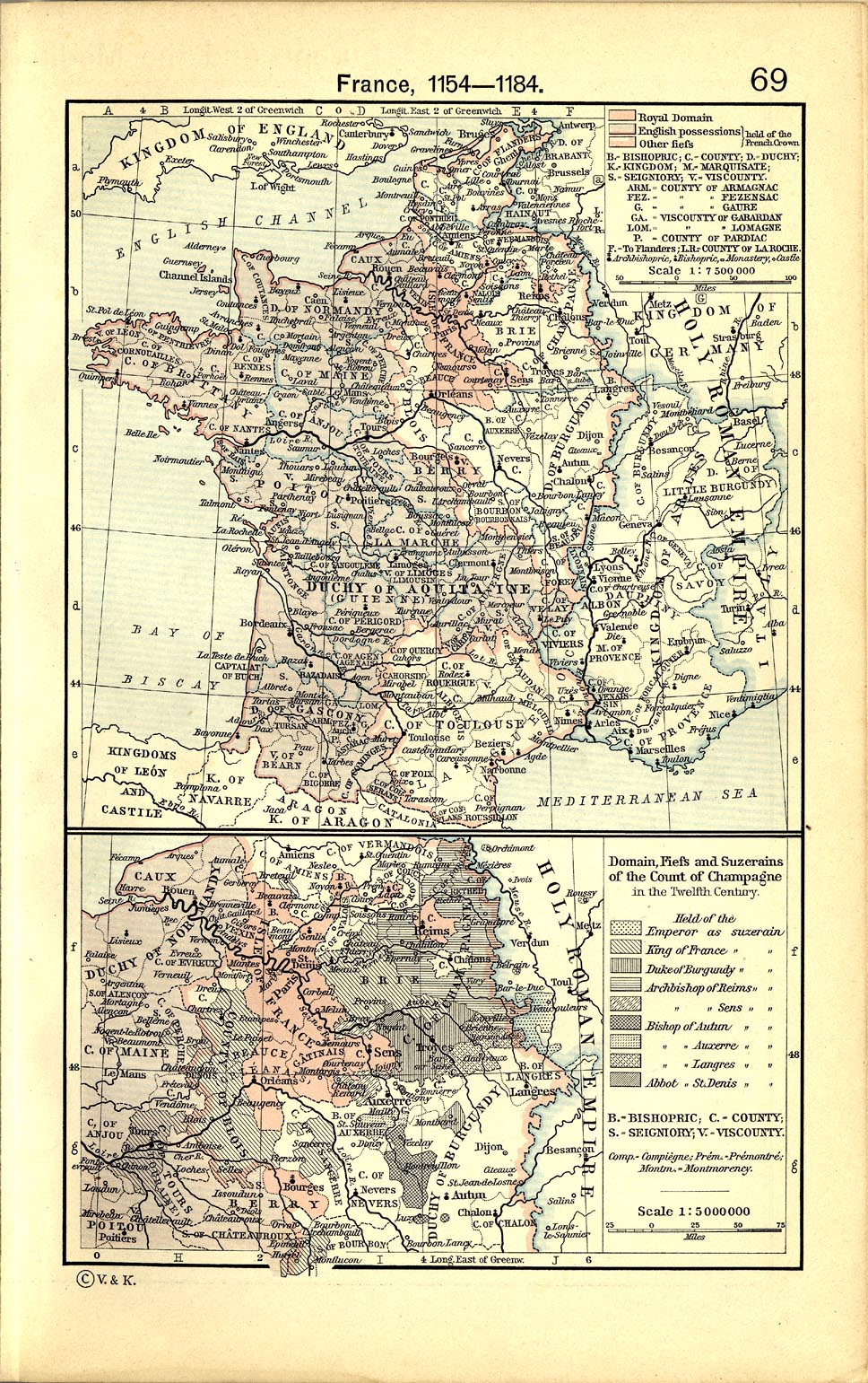 Map of France 1154  - 1184