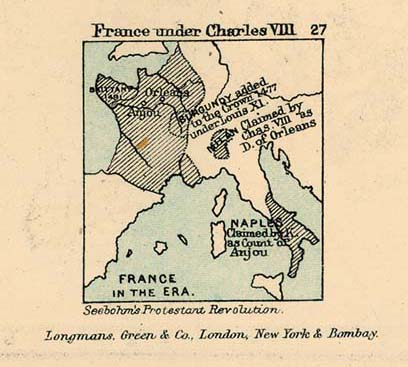 Map of France Under Charles VIII