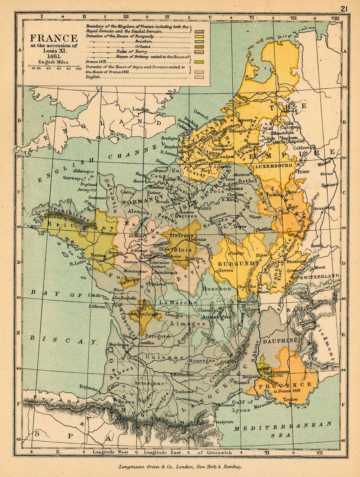 Mapa de Francia Bajo Luis XI
