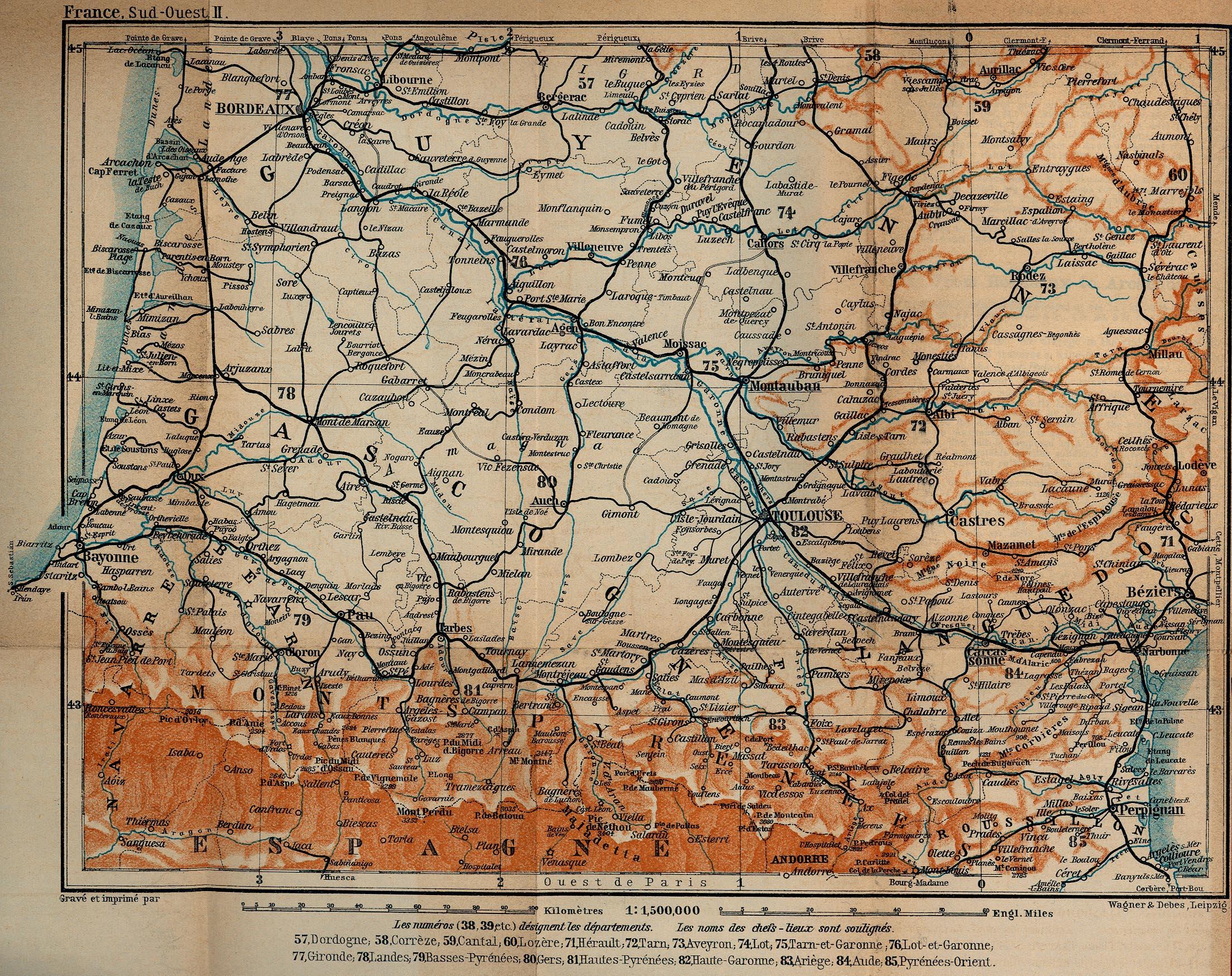 Mapa de Francia Suroccidental, Desde Burdeos Hasta Perpignan 1914