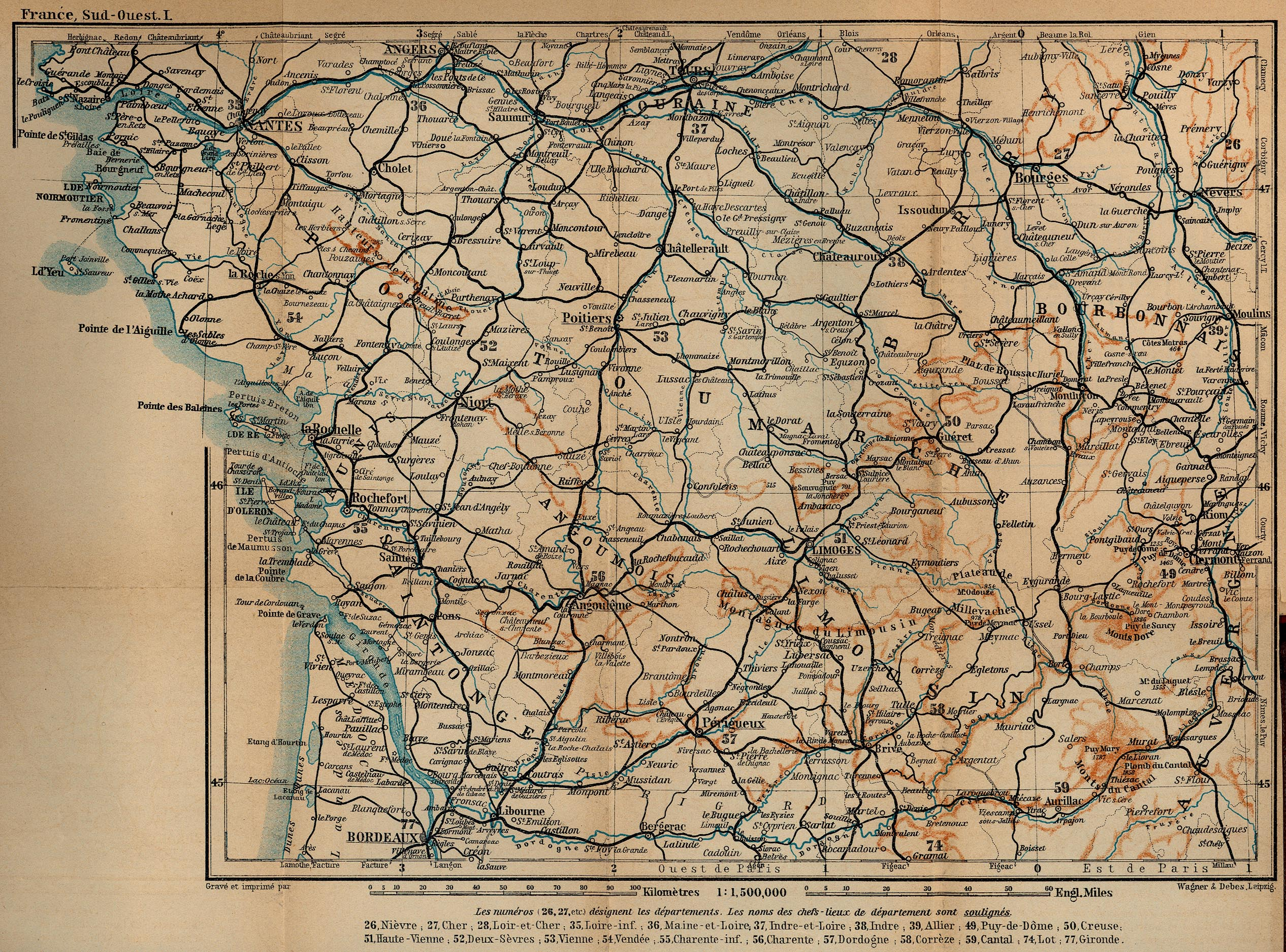 Map of South-Western France, from Tours to Bordeaux 1914