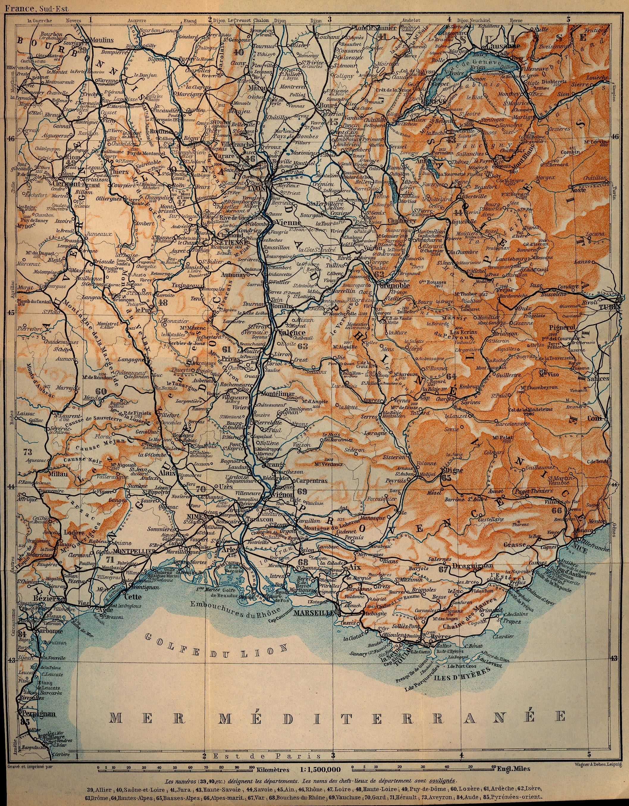 Mapa de Francia Suroriental, Francia 1914
