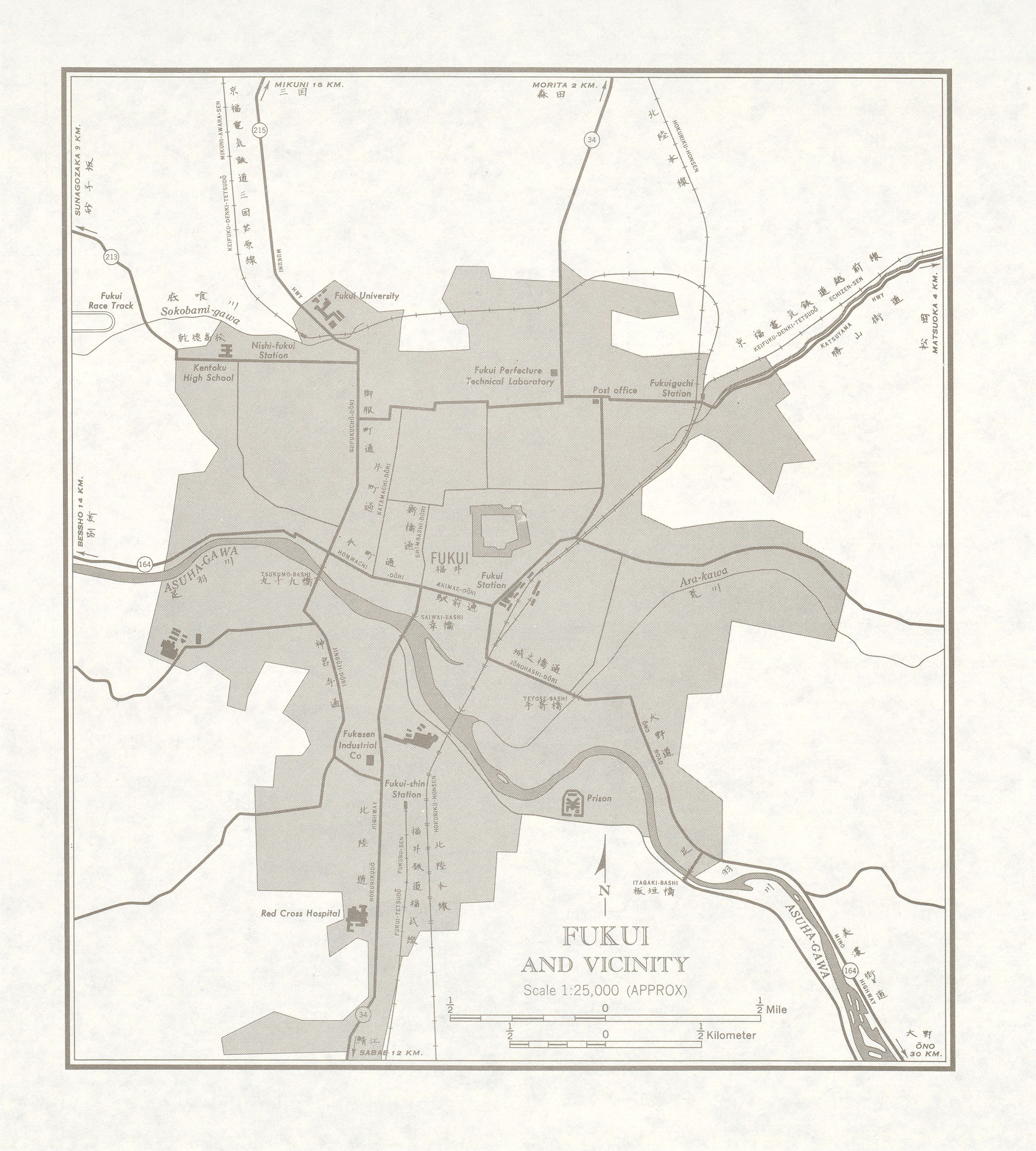 Map of Fukui and Vicinity, Japan 1954