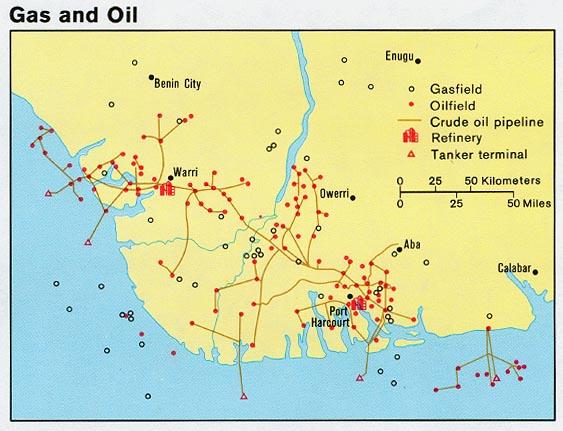 Mapa de Gas y Petróleo de Nigeria