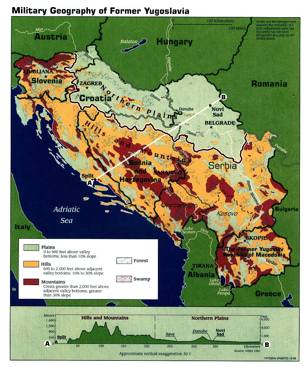 Mapa de Geografía Militar de la Ex Yugoslavia 1998