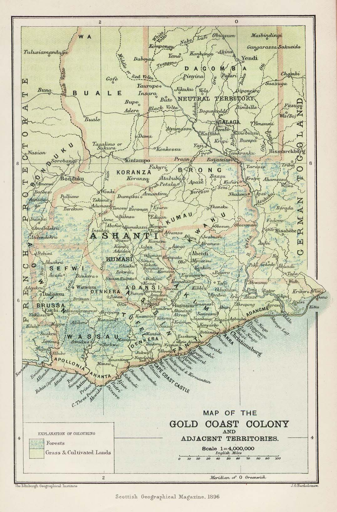 Ghana (Gold Coast Colony) Map 1896
