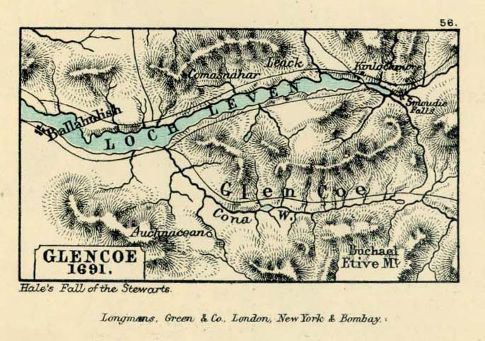 Glencoe Map, Scotland 1691