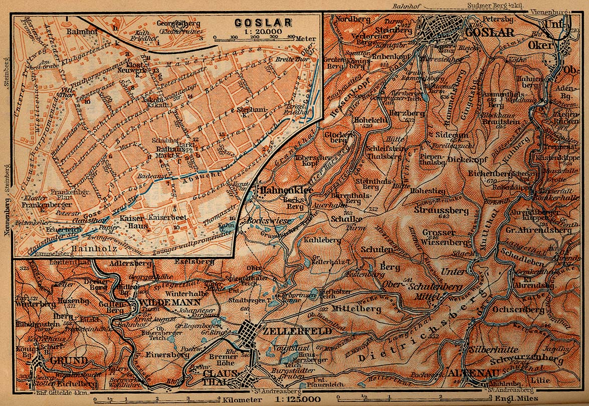 Goslar Map, Germany 1910