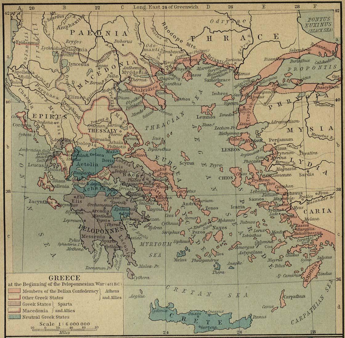 Mapa de Grecia al Inicio de la Guerra del Peloponeso (431 adC)