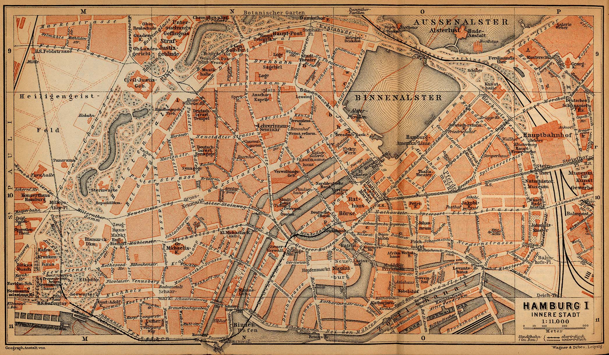 Hamburg (Inner Town) Map, Germany 1910