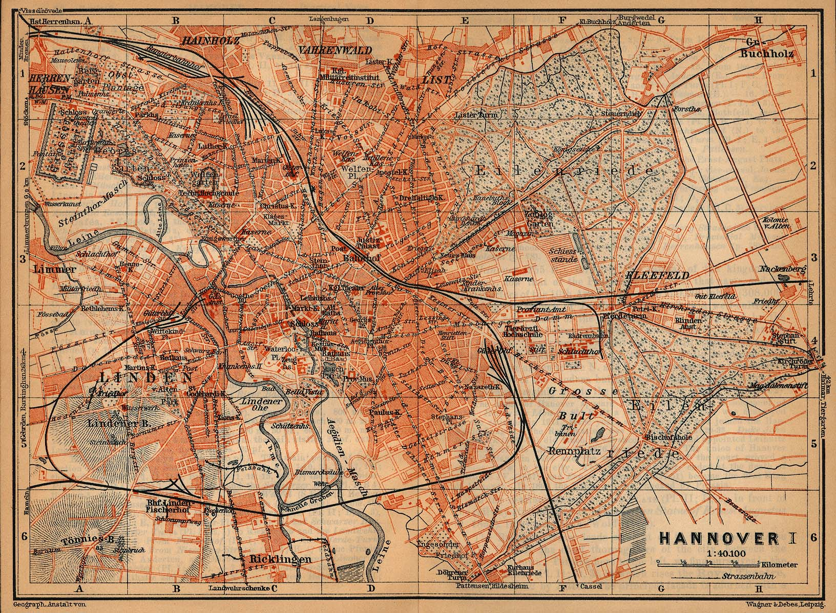 Hanover Map, Germany 1910