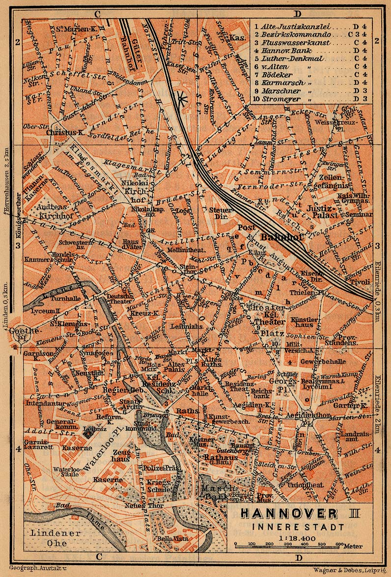Hanover (Inner Town) Map, Germany 1910