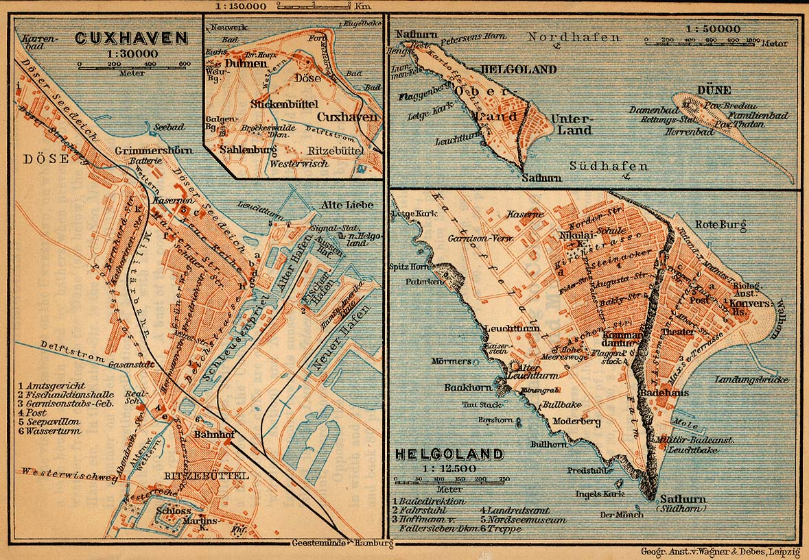 Helgoland Map, Germany 1910