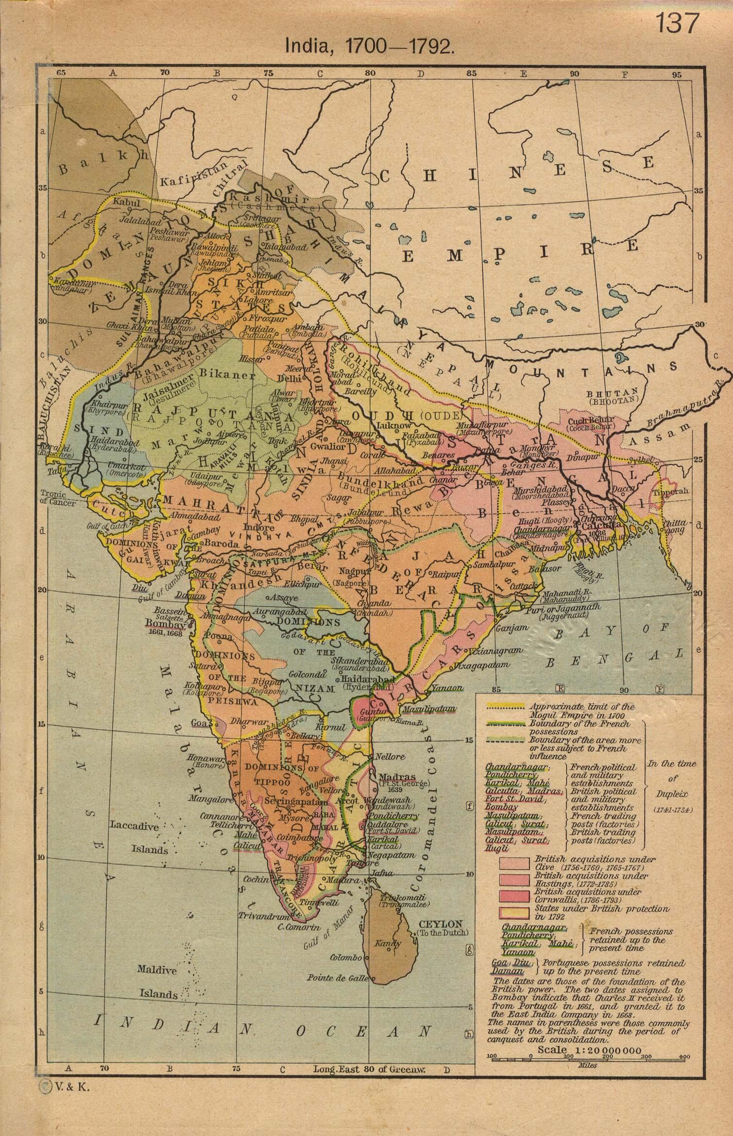 Mapa de India 1700 - 1792