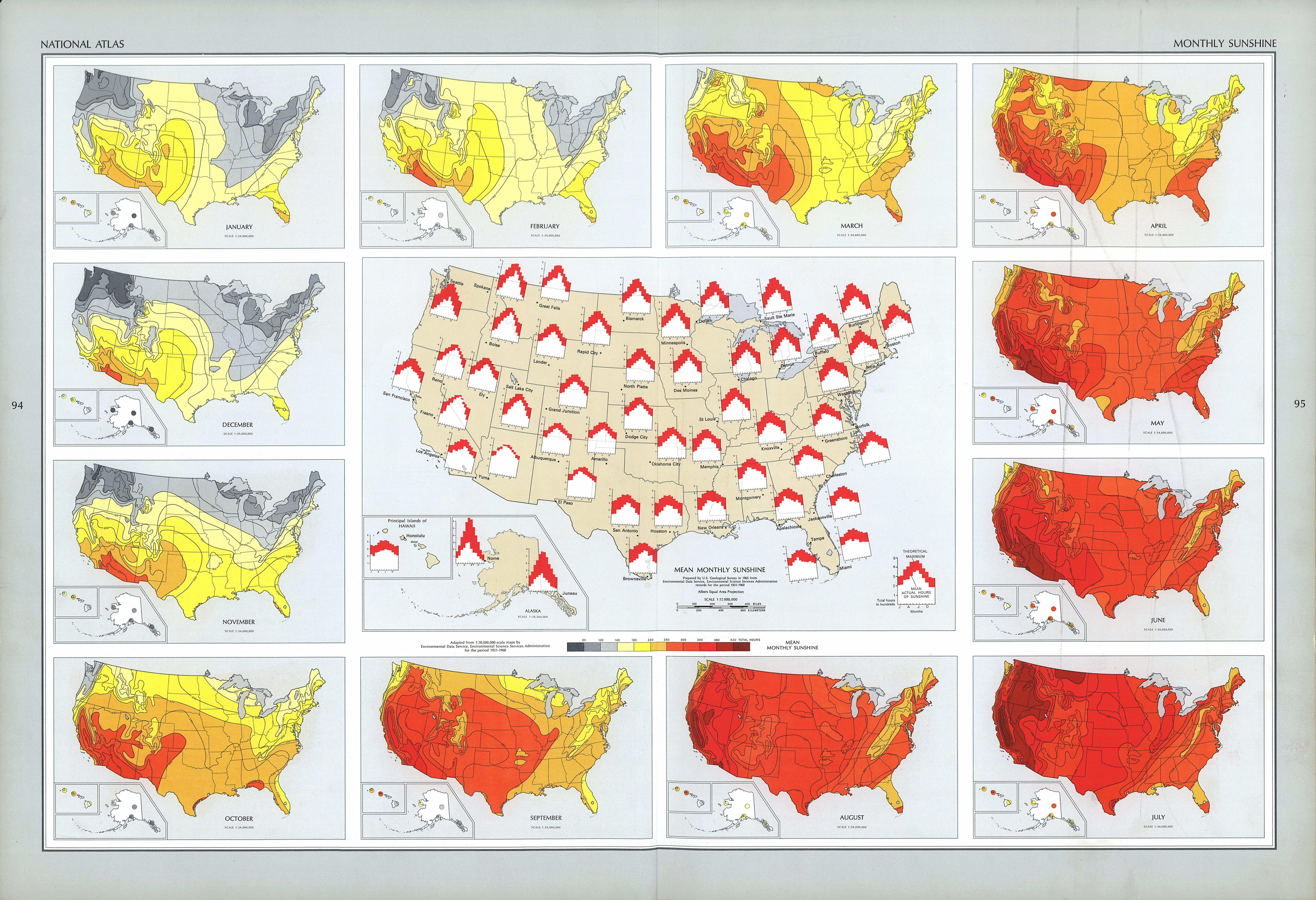 United States Monthly Sunshine Map