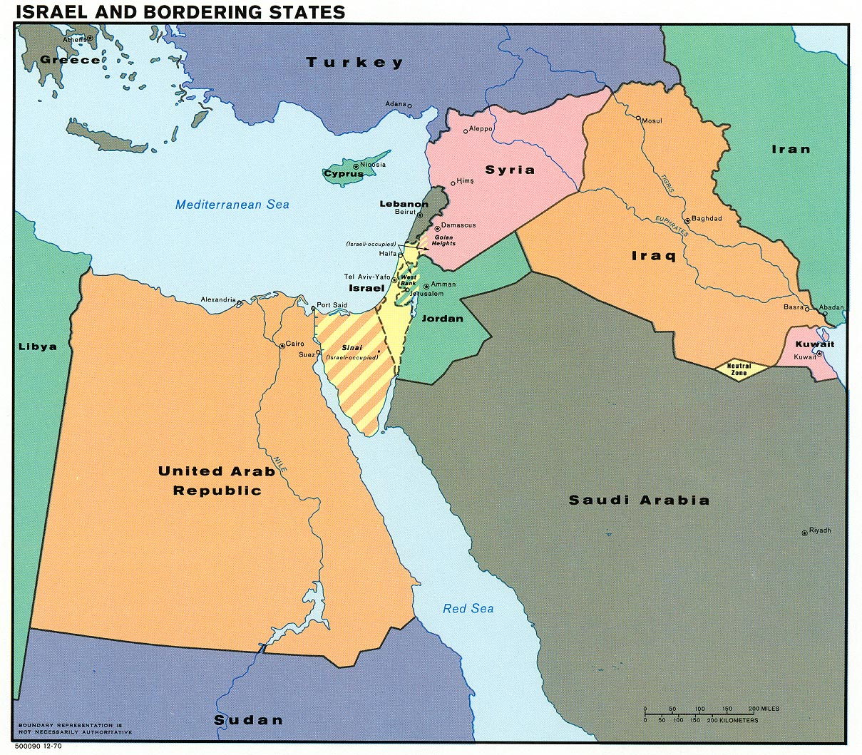 Israel and Bordering States Map