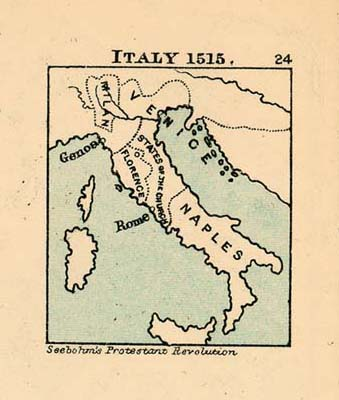 Map of Italy in 1515