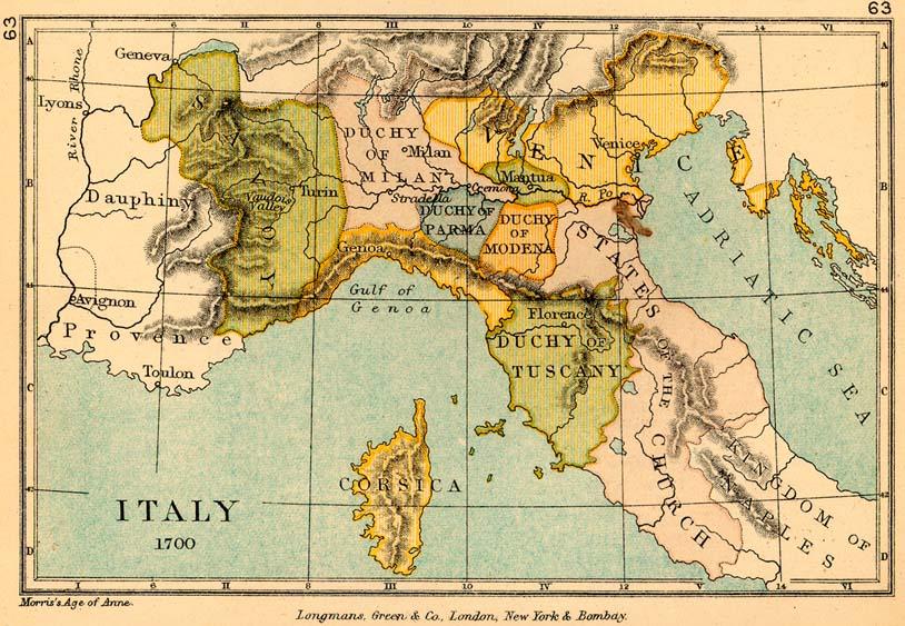 Mapa de Italia en 1700