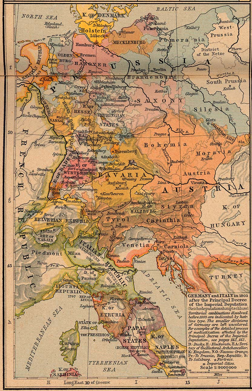 Map of Italy and Germany 1803