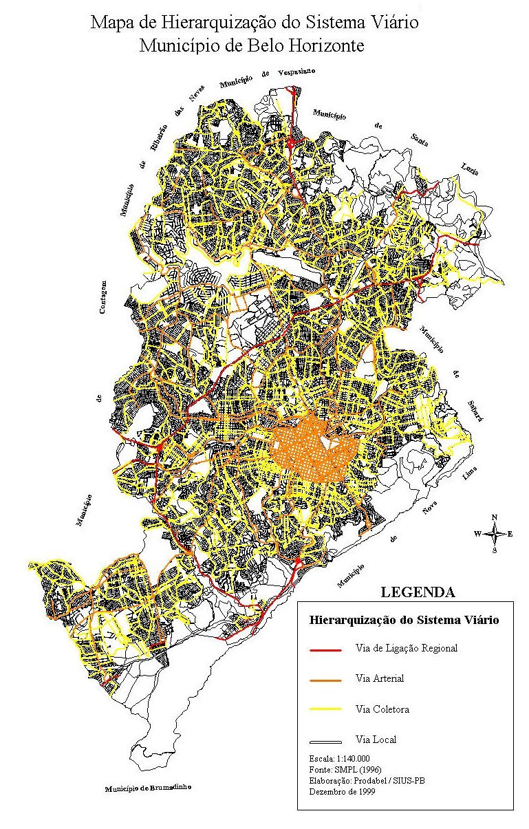 Mapa de Jerarquización del Sistema Viario de Belo Horizonte, Brasil