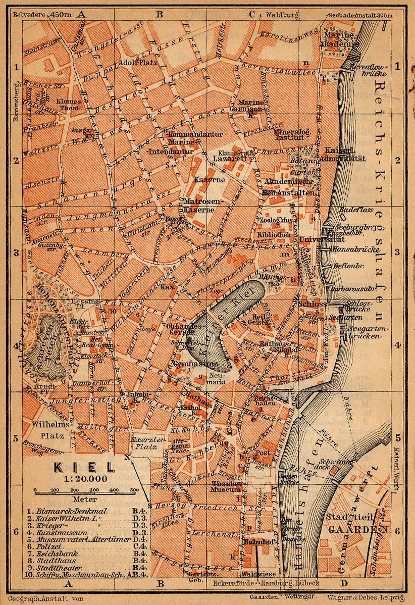 Mapa de Kiel, Alemania 1910