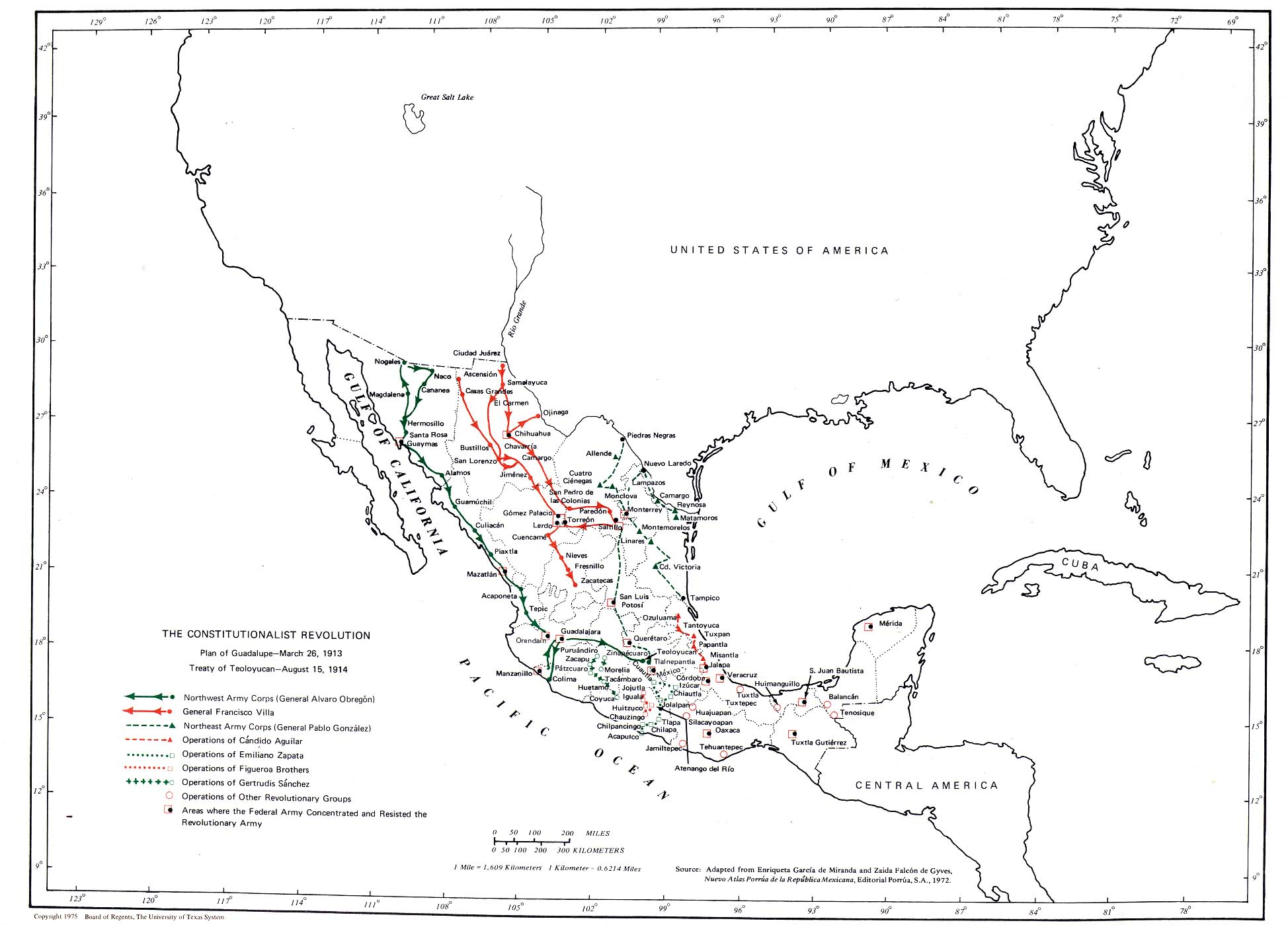 The Constitutionalist Revolution Map, Mexico