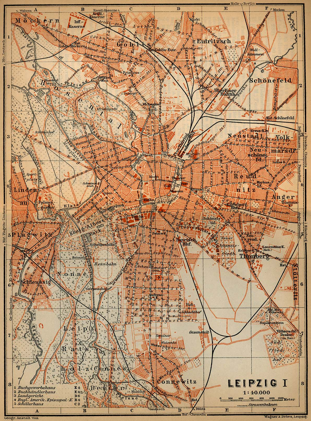 Leipzig Map, Germany 1910